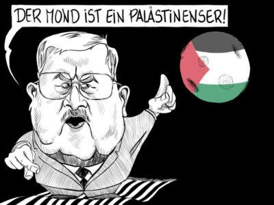 Karikatur, Cartoon: Abbas - der Mond ist ein Palästinenser © Roger Schmidt