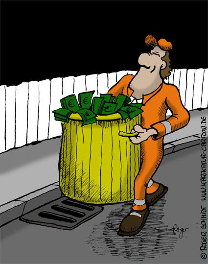 Karikatur, Cartoon: Grüner Abfall für die Mülltonne, © Roger Schmidt