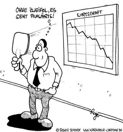 Karikatur, Cartoon: Trendwende beim Abschwung, © Roger Schmidt
