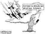 Karikatur, Cartoon: Abstürzende Coronaflugzeuge © Roger Schmidt
