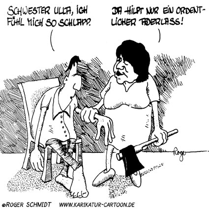 Karikatur, Cartoon: Aderlass, © Roger Schmidt