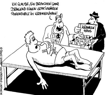 Karikatur, Cartoon: Ärzte-Bestechung, © Roger Schmidt