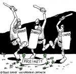 Karikatur, Cartoon: Ahmadineschad und die Freiheit, © Roger Schmidt
