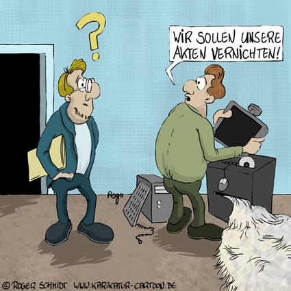 Karikatur, Cartoon: Akten vernichten mit dem Aktenvernichter, © Roger Schmidt