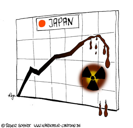 Karikatur, Cartoon: Aktienindex Japan, © Roger Schmidt