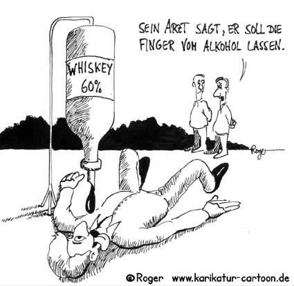 Karikatur, Cartoon: Alkohol und Arzt, © Roger Schmidt