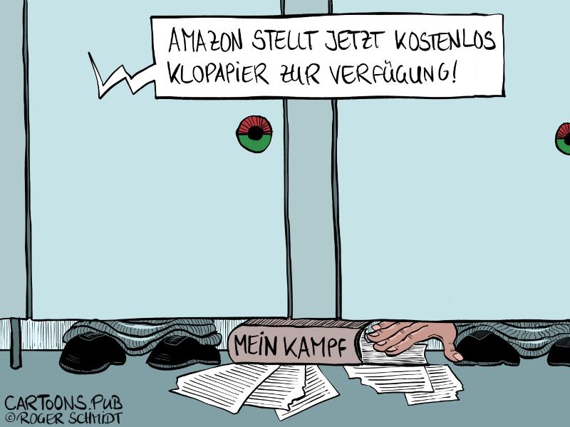 "Karikatur, Cartoon: Amazon beschänkt Verkauf von Hitlers ""Mein Kampf"" © Roger Schmidt"