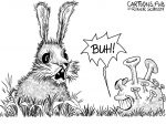 Karikatur, Cartoon: Angsthase mit Coronaangst © Roger Schmidt