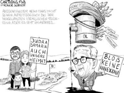 Karikatur, Cartoon: Annexion Judäa und Samaria, Heiko Mass kritisiert Israel © Roger Schmidt