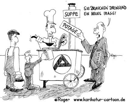 Karikatur, Cartoon: Arbeitsamt braucht Berater, © Roger Schmidt
