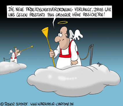 Karikatur, Cartoon: Arbeitsschutz gegen Absturz, © Roger Schmidt