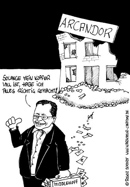 Karikatur, Cartoon: Arcandor Middlehoff, © Roger Schmidt