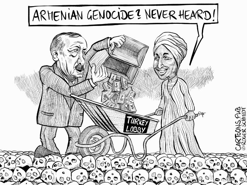 Karikatur, Cartoon: Ilhan Omar Völkermord Armenier Armenien Genocide © Roger Schmidt