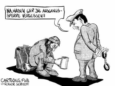 Karikatur, Cartoon: Arroganz der Macht © Roger Schmidt