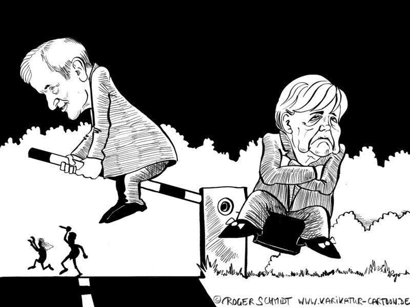 Karikatur, Cartoon: Merkel und Seehofer im Asylstreit, © Roger Schmidt