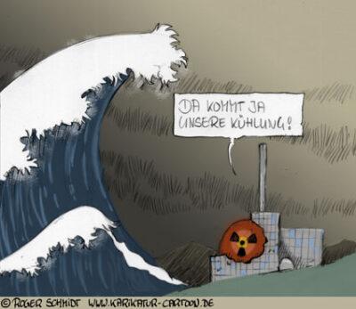 Karikatur, Cartoon: Kernschmelze im Atomkraftwerk Fukushima 1 befürchtet, © Roger Schmidt
