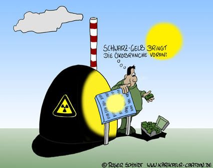 Karikatur, Cartoon: Laufzeitverlängerung für Atomkraftwerke, © Roger Schmidt