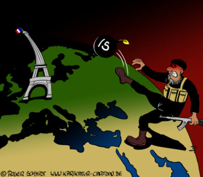 Karikatur, Cartoon: Attentat in Paris, © Roger Schmidt