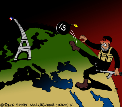 Karikatur, Cartoon: Attentat in Paris, © Roger Schmidt