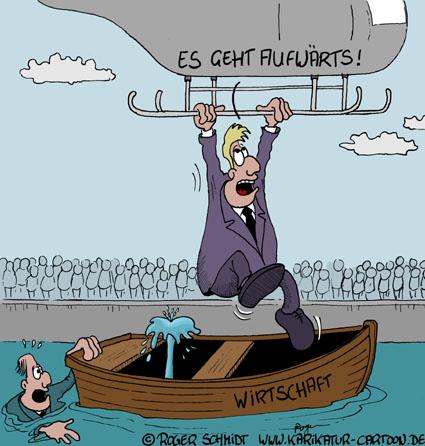 Karikatur, Cartoon: Aufschwung Industrie, © Roger Schmidt