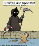 Karikatur, Cartoon: Bademeister in Ausbildung, © Roger Schmidt