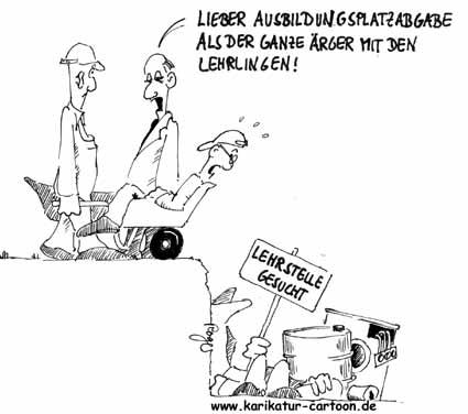 Karikatur, Cartoon: Ausbildungsplatzabgabe, © Roger Schmidt