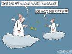 Karikatur, Cartoon: Ausgangssperre im Himmel © Roger Schmidt