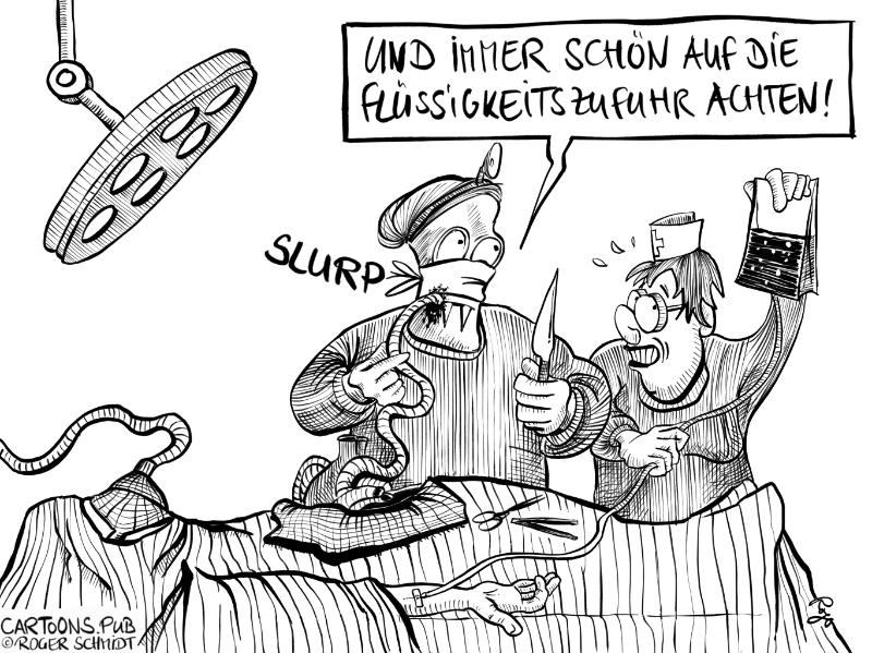 Karikatur, Cartoon: Ausreichend Flüssigkeit © Roger Schmidt