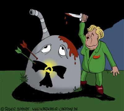 Karikatur, Cartoon: Ausstieg aus der Atomenergie, © Roger Schmidt