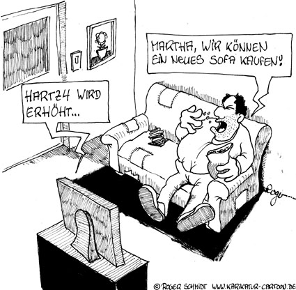 Karikatur, Cartoon: Ausstieg aus Hartz4, © Roger Schmidt
