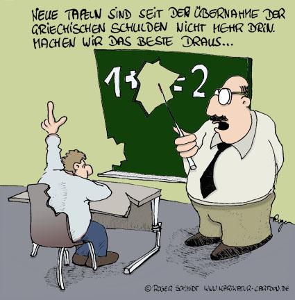 Karikatur, Cartoon: Die Auswirkungen der Schuldenkrise in Griechenland, © Roger Schmidt