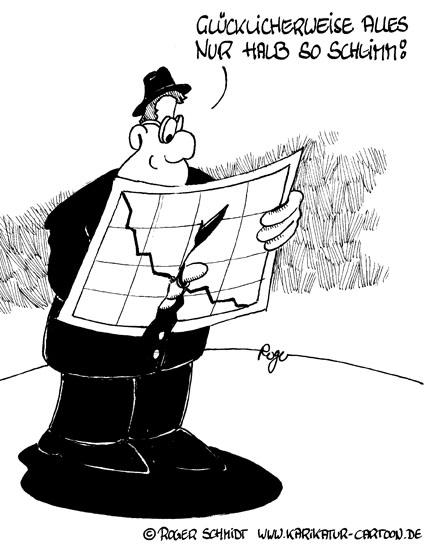 Karikatur, Cartoon: Auswirkungen der Wirtschaftskrise, © Roger Schmidt