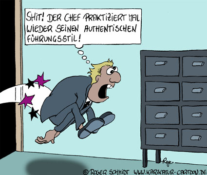 Karikatur, Cartoon: Authentischer Führungsstil, © Roger Schmidt