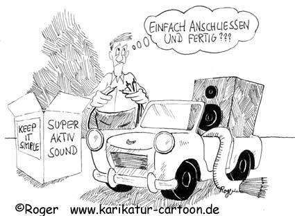 Karikatur, Cartoon: Auto und der Fehlerteufel, © Roger Schmidt