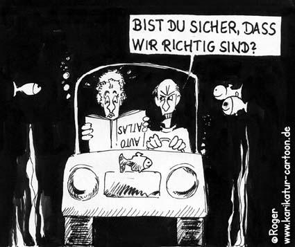 Karikatur, Cartoon: Frau, Wasser, Fisch, © Roger Schmidt