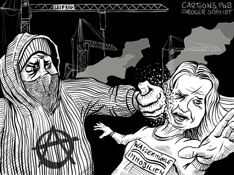 Karikatur, Cartoon: Autonome Hausbesuche Leipziger Art © Roger Schmidt