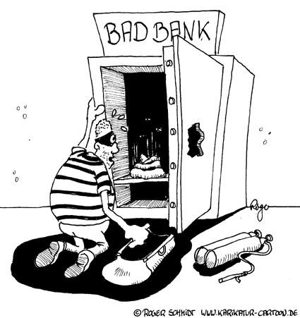 Karikatur, Cartoon: Faule Kredite für die Bad Bank, © Roger Schmidt