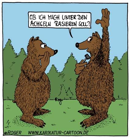 Karikatur, Cartoon: Bär, © Roger Schmidt