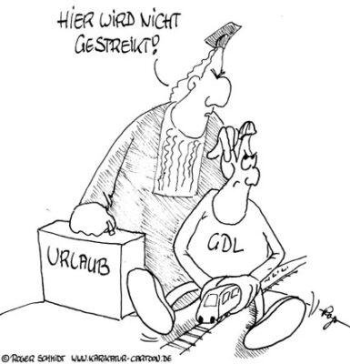 Karikatur, Cartoon: Bahn-Streik, © Roger Schmidt