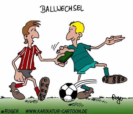Karikatur, Cartoon: Ballwechsel, © Roger Schmidt
