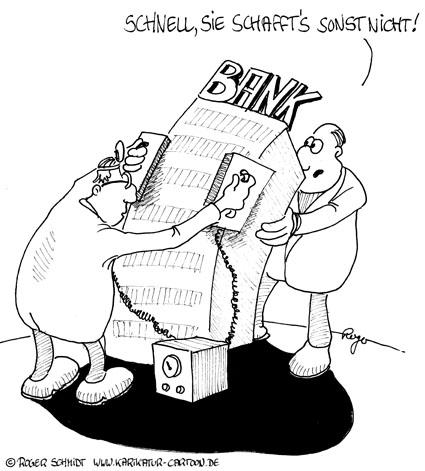 Karikatur, Cartoon: Banken im Stresstest, © Roger Schmidt
