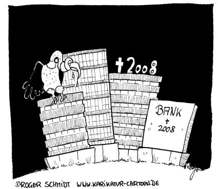 Karikatur, Cartoon: Das Bankensterben in der Finanzkrise geht weiter..., © Roger Schmidt
