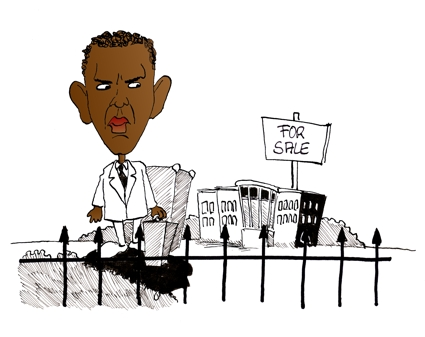 Karikatur, Cartoon: Barack Obama als neuer Präsident, © Roger Schmidt