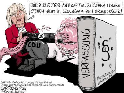 Karikatur, Cartoon: Barbara Borcherdt, Mecklenburg-Vorpommerns linke Verfassungsrichterin © Roger Schmidt