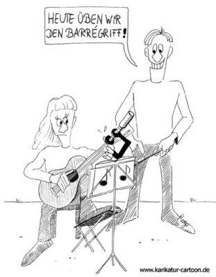 Karikatur, Cartoon: Gitarre, Barreegriff, © Roger Schmidt