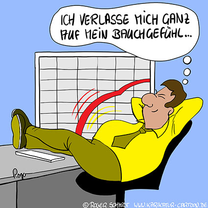 Karikatur, Cartoon: Bauchgefühl, © Roger Schmidt