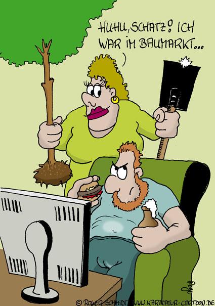 Karikatur, Cartoon: Baumarkt besser ohne Gartencenter, © Roger Schmidt