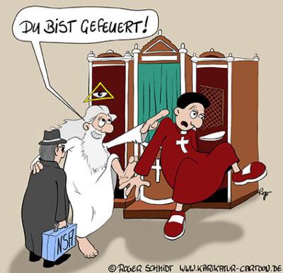 Karikatur, Cartoon: Beichtstuhl für die NSA, © Roger Schmidt