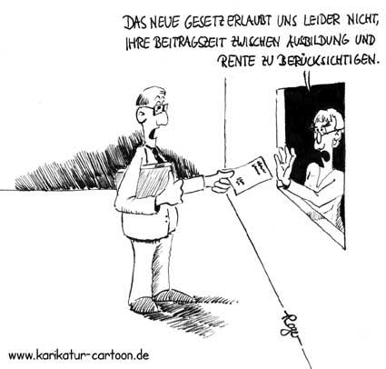 Karikatur, Cartoon: Anrechnung der Ausbildungszeit, © Roger Schmidt