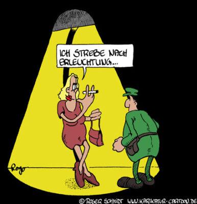 Karikatur, Cartoon: Beleuchtung, © Roger Schmidt